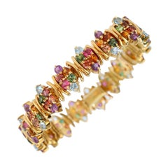 H. Stern 18 Karat Gold and Multi-Color Gemstone Fancy Link Bracelet