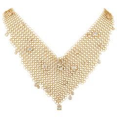 H. Stern 18 Karat Yellow Gold 3.00 Carat Diamond Mesh Bib Necklace