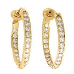 "H. Stern 18 Karat Yellow Gold 4.85 Carat Diamonds 1.12"" Hoop Earrings"