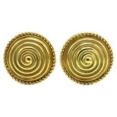 H. Stern 18 Karat Yellow Gold Circle Swirl Earrings