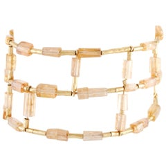 H. Stern 18 Karat Yellow Gold Diamond and Imperial Topaz Bracelet