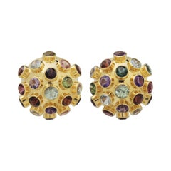 H Stern 18 Karat Yellow Gold Multi Gemstone Sputnik Style Ear Clips