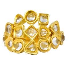 H. Stern 1970 Vintage Rock Crystal 18 Karat Gold Fashion Band Ring