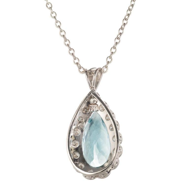 Pear Cut H Stern 4.40 Carat Aquamarine Diamond Halo White Gold Pendant Necklace For Sale