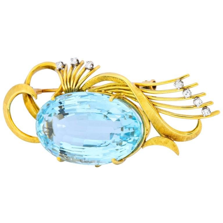 H. Stern Vintage 55.15 Carat Aquamarine Diamond 18 Karat Gold Platinum Brooch For Sale