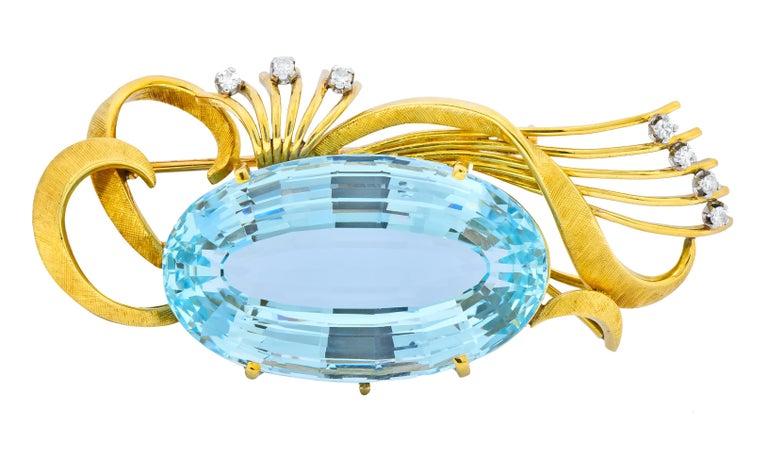 Oval Cut H. Stern Vintage 55.15 Carat Aquamarine Diamond 18 Karat Gold Platinum Brooch For Sale