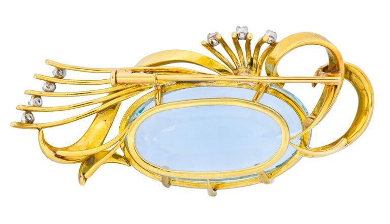 H. Stern Vintage 55.15 Carat Aquamarine Diamond 18 Karat Gold Platinum Brooch In Excellent Condition For Sale In Philadelphia, PA