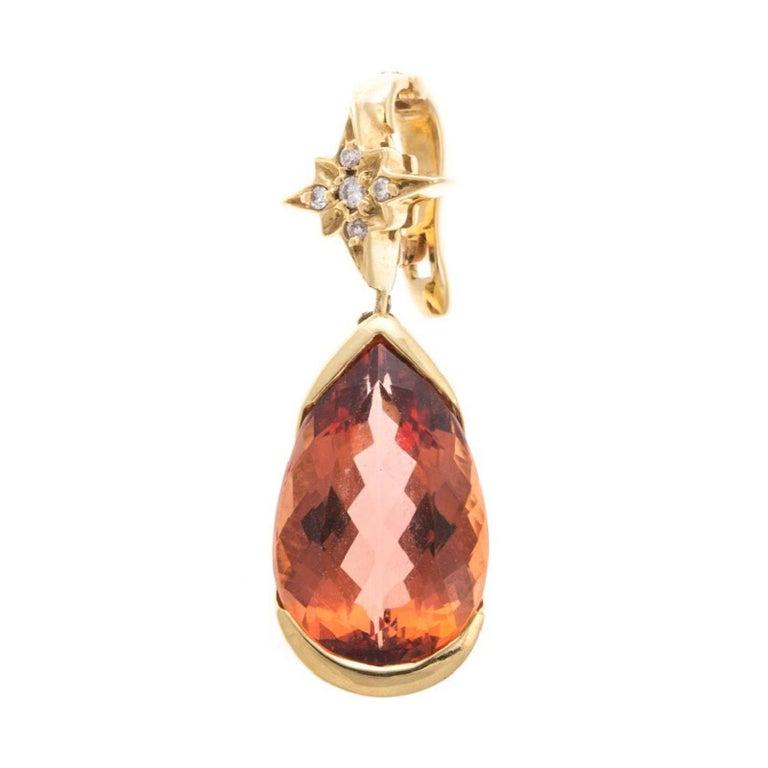 H Stern 6.50 Carat Imperial Topaz Diamond 18 Karat Gold ...
