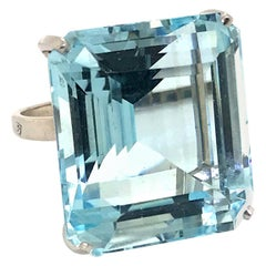 H Stern Aquamarine and Platinum Cocktail Ring