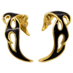 H. Stern Black Enamel and 18 Karat Yellow Gold Earrings