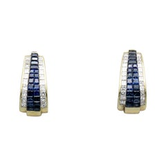H. Stern Blue Sapphire, Diamond and 18 Karat Gold Hoop Earrings