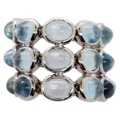 H. Stern Blue Topaz Oval Cabochon Ring in 18 Karat White Gold