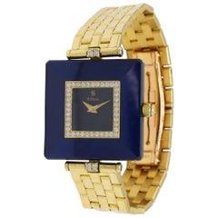 H. Stern Classic 18 Karat Yellow Gold Blue Sapphire and Diamond Dress Watch