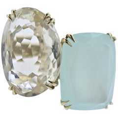 H. Stern Cobblestone Diamond Quartz Chalcedony Gold Ring