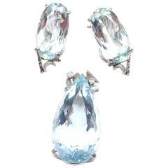 H. Stern Diamond 40 Carat Aquamarine White Gold Set Necklace and Earrings