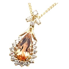 H. Stern Diamond Imperial Topaz Yellow Gold Pendant Necklace