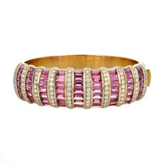 H. Stern Diamond, Pink Tourmaline, and Gold Bangle Bracelet