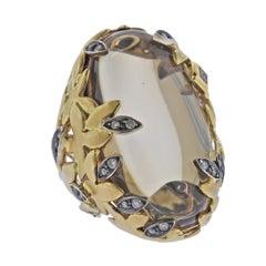 H. Stern Diamond Quartz Leaf Gold Cocktail Ring