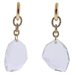 H. Stern Diane Von Furstenberg DVF Diamond Crystal Gold Earrings