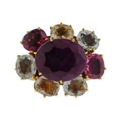H. Stern Diane Von Furstenberg Harmony Large Multi Gemstone Diamond Gold Ring