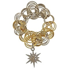 H. Stern Fancy Diamond Gold Link Star Charm Bracelet