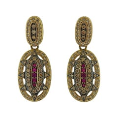 H. Stern Fancy Diamond Ruby Gold Earrings