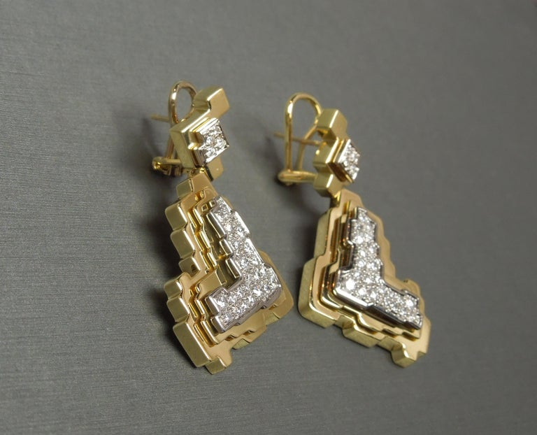 H. Stern Geometric 18 Karat Gold and Diamond Trio Set In Good Condition For Sale In METAIRIE, LA