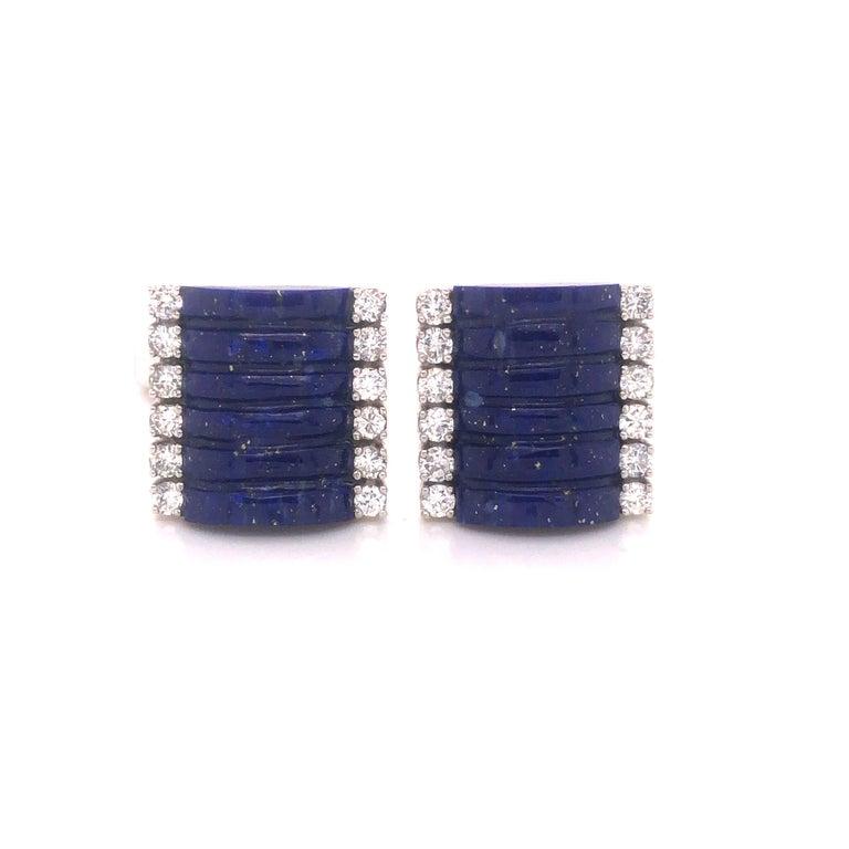 Modern H. Stern Lapis Lazuli & Diamond 18k White Gold Cuff Links For Sale
