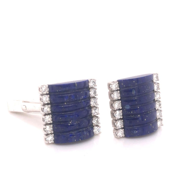 Round Cut H. Stern Lapis Lazuli & Diamond 18k White Gold Cuff Links For Sale