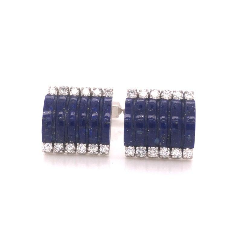 H. Stern Lapis Lazuli & Diamond 18k White Gold Cuff Links For Sale 1