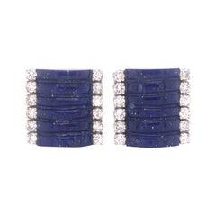 H. Stern Lapis Lazuli & Diamond 18k White Gold Cuff Links