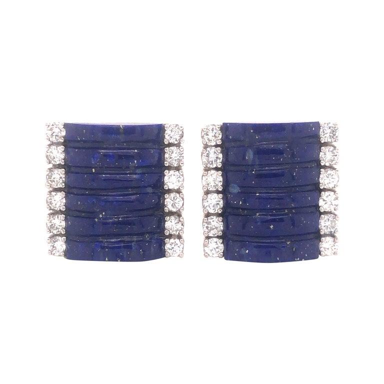 H. Stern Lapis Lazuli & Diamond 18k White Gold Cuff Links For Sale