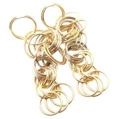 H. Stern Long Dangle Hoop Yellow & White Gold Earrings
