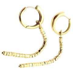 H. Stern Long Strand Dangle Hoop Yellow Gold Earrings