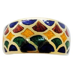 H. Stern Multi-Color Enamel and 18 Karat Yellow Gold Ring