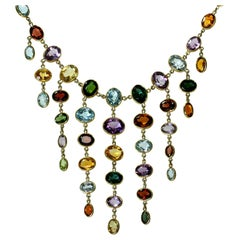 H. Stern Multi-Color Gemstone Yellow Gold Chandelier Necklace