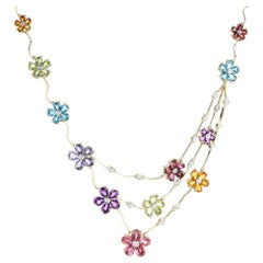 H. Stern Multicolored Floral Motif Yellow Gold Necklace