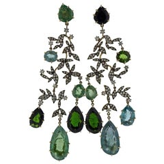 H. Stern Nature Diamond Tourmaline Gold Chandelier Earrings
