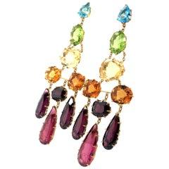 H. Stern 'Primavera' Earstuds in 18 Karat Yellow Gold with Coloured Gemstones