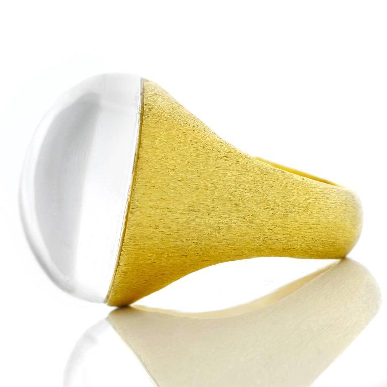 Modernist H. Stern Rock Crystal Set Gold Ring For Sale