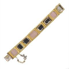 H. Stern Rose Quartz Diamond Lizard Gold Bracelet