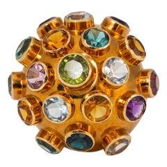 H Stern Sputnik Cocktail Ring Yellow Gold Amethyst Citrine Tourmaline Peridot