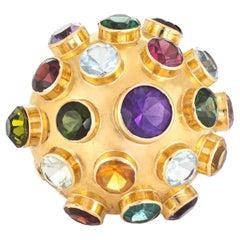 H Stern Sputnik Gemstone Dome Large Vintage Cocktail Ring 18 Karat Yellow Gold