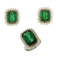 H. Stern Tourmaline and Diamond Ring and Earring Set