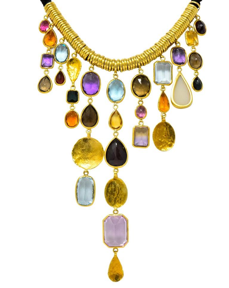 H. Stern Vintage 1970s Multi-Gem Aquamarine 18 Karat Gold Cord Drop Necklace For Sale 5