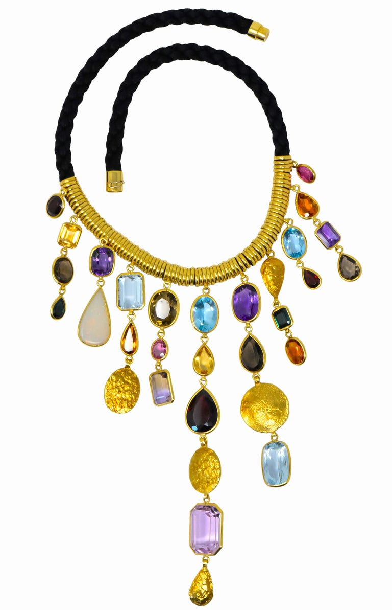 H. Stern Vintage 1970s Multi-Gem Aquamarine 18 Karat Gold Cord Drop Necklace For Sale 6