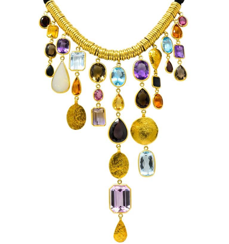 Modernist H. Stern Vintage 1970s Multi-Gem Aquamarine 18 Karat Gold Cord Drop Necklace For Sale