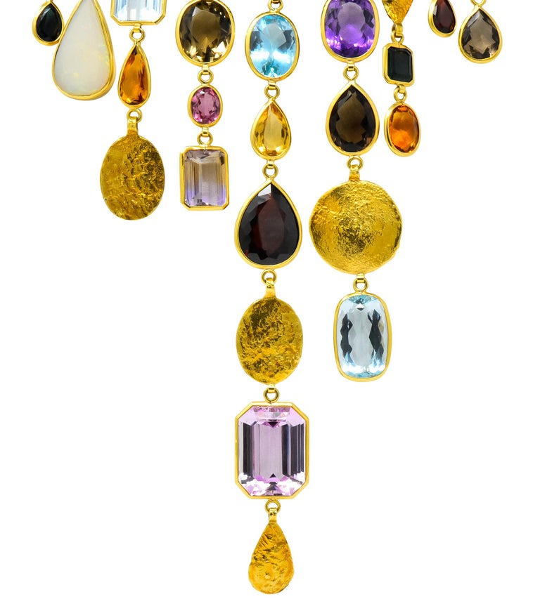 Women's or Men's H. Stern Vintage 1970s Multi-Gem Aquamarine 18 Karat Gold Cord Drop Necklace For Sale