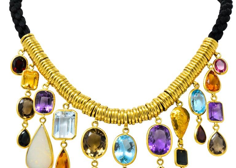 H. Stern Vintage 1970s Multi-Gem Aquamarine 18 Karat Gold Cord Drop Necklace For Sale 1