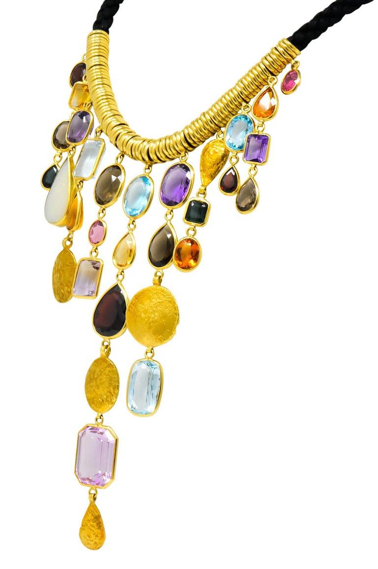 H. Stern Vintage 1970s Multi-Gem Aquamarine 18 Karat Gold Cord Drop Necklace For Sale 2